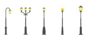 Декоративные дорожные столбы и опоры освещения